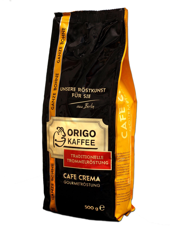 cafe crema gourmetr stung kaffee ganze bohnen origo. Black Bedroom Furniture Sets. Home Design Ideas